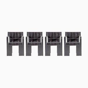 Schwarze Schichtholz Stühle von Gijs Bakker für Castelijn, 1974, 4er Set