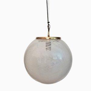 Lampada da soffitto Mid-Century in ottone e vetro soffiato di Venini, anni '50