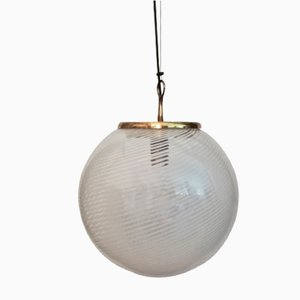 Mid-Century Blown Glass & Brass Ceiling Lamp from Venini, 1950s