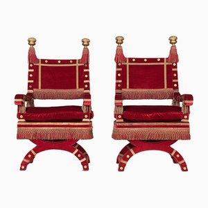 Red Velvet Throne Chairs, 1940s, Set of 2