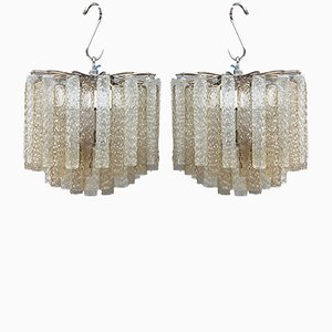 Lampadari in vetro di Murano di Venini, anni '60, set di 2