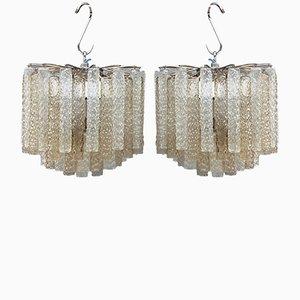 Lámparas de araña de cristal de Murano de Venini, años 60. Juego de 2
