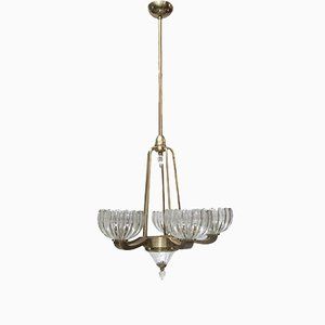 Murano Glass and Brass Chandelier from Barovier & Toso, 1940s