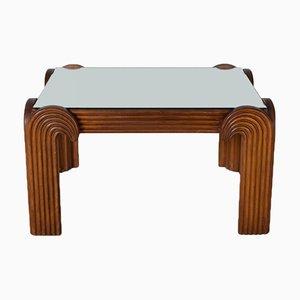 Mesa de centro italiana de madera tallada, años 40