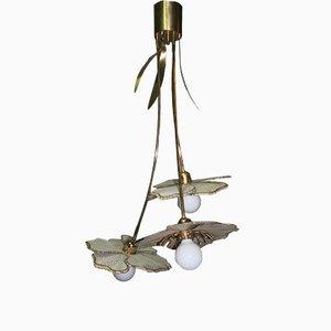 Lámpara de techo italiana vintage con flor, años 70