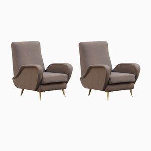 Mid-Century Italian Lounge Chairs, 1950s, Set of 2