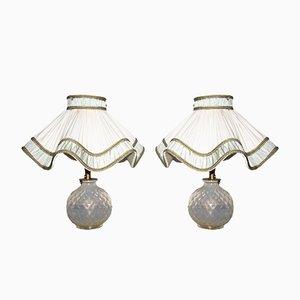 Lámparas de mesa de cristal de Murano de Seguso, años 40. Juego de 2