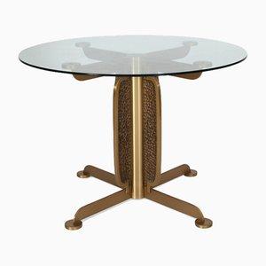 Tavolo da pranzo in ottone e vetro di Luciano Frigerio, anni '70