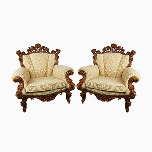 Mid-Century Italian Carved Armchairs, Set of 2