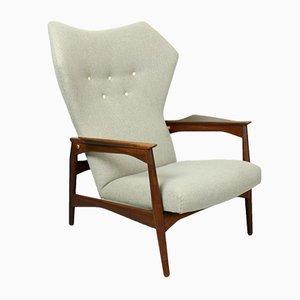 Sillón reclinable danés vintage de Ib Kofod-Larsen para Carlo Gahrn