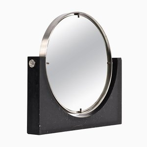 Espejo moderno Mid-Century redondo de mármol negro y acero