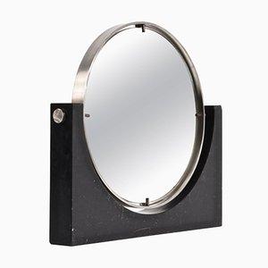 Runder Mid-Century Tisch Spiegel aus schwarzem Marmor und Stahl