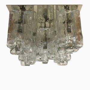 Lámpara de techo Granada vintage de montaje de cristal de hielo de Murano de J.T Kalmar