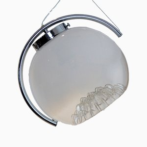 Lampada a sospensione in vetro smerigliato di Mazzega, anni '70