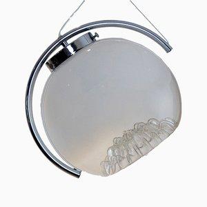 Lampe à Suspension Lune en Verre Givré de Mazzega, 1970s
