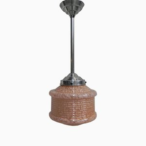 Art Deco Pendant Lamp with Pink Glass Shade