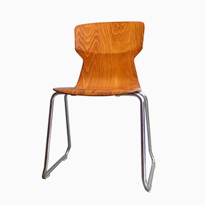 Sedia in compensato modellato e metallo cromato di Casala, anni '70