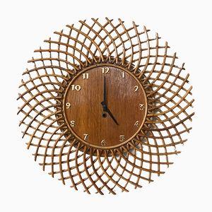Orologio a forma di sole in vimini, anni '60
