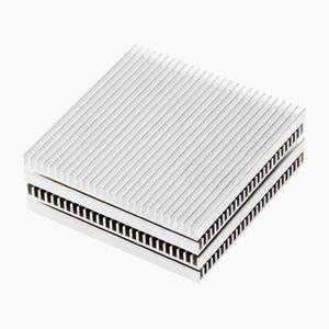 Sottobicchieri Fin color argento di Shaun Kasperbauer per Souda, set di 4