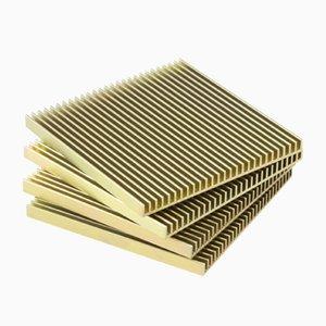 Sottobicchieri Fin color oro di Shaun Kasperbauer per Souda, set di 4