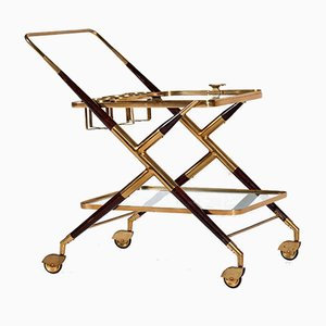 Walnut & Brass Serving Trolley by Cesare Lacca for Cassina, 1950s