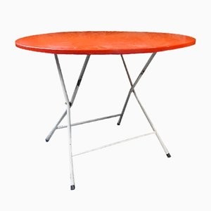 French Red Foldable Metal Table