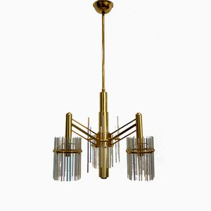 Chandelier in Brass and Rainbow Crystal by Gaetano Sciolari, 1970s