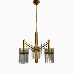 Lámpara de araña de latón y cristal arcoíris de Gaetano Sciolari, años 70