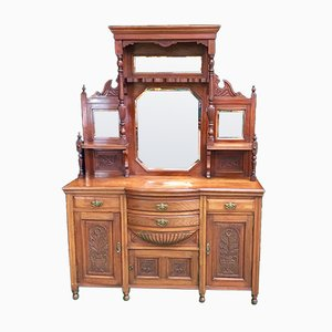 Antique Mahogany Credenza with Mirrors