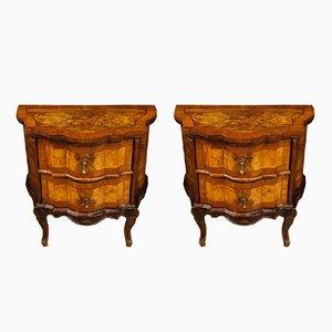 Vintage Venetian Walnut, Burl & Rosewood Dressers, 1930s, Set of 2