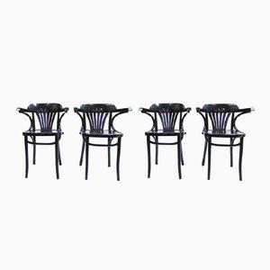 Chaises Nordic Vintage Noires, Set de 4