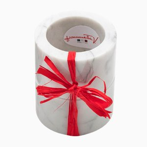 Napkin Rings in White Carrara Marble by FiammettaV Home Collection, Set of 2