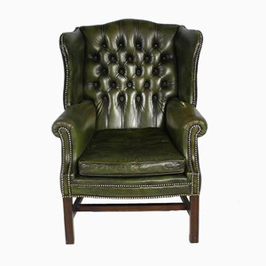 Vintage Button Back Leather Wing Chair