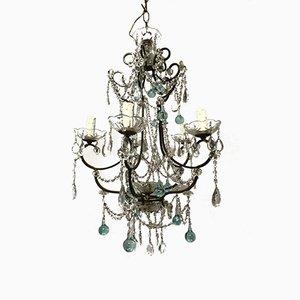 Lámpara de araña vintage con cuentas y cristal de Murano