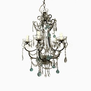 Vintage Beaded Chandelier with Murano Glass