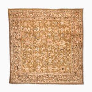 Handgearbeiteter Teppich aus creme und lachsfarbener Wolle von Ziegler, 1890s