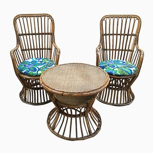 Italian Bamboo & Rattan Set of Two Armchairs & Side Table, 1950s