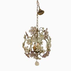 Lampe à Suspension en Cristal avec Fleurs, 1950s