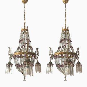 Lámparas de araña vintage con cristales. Juego de 2