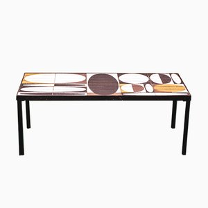 Ellipse Coffee Table with Enamelled Tile Top by Roger Capron, 1960s