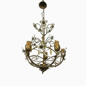 Vintage Chandelier with Beads and Crystal Flowers