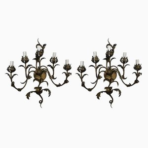 Appliques in Wrought Iron, 1950s, Set of 2