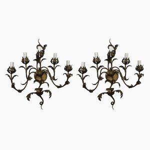 Wandlampen aus Schmiedeeisen, 1950er, 2er Set
