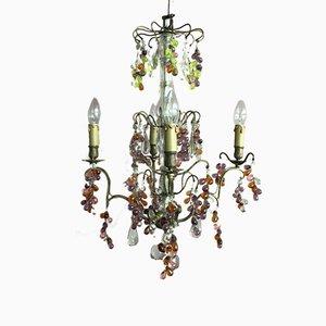 Lámpara de araña francesa vintage de cristal de plomo