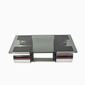 Tavolino da caffè Kappa in acciaio e vetro fumé di Domustil, anni '70