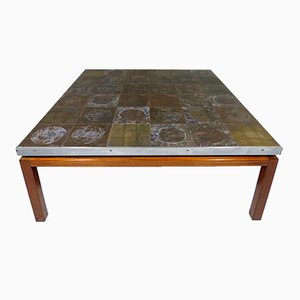 Mid-Century Large Square Coffee Table with Tile Top