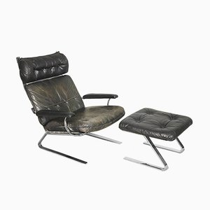 Leather Lounge Chair & Ottoman by Reinhold Adolf for Cor, 1960s