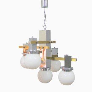 Lámpara de araña italiana vintage con esperas de opalina