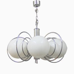 Lámpara de araña española vintage de vidrio opalino