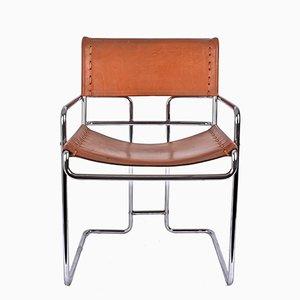 Italienischer Stuhl aus verchromtem Stahl & Leder von Guido Faleschini für i 4 Mariani, 1970er